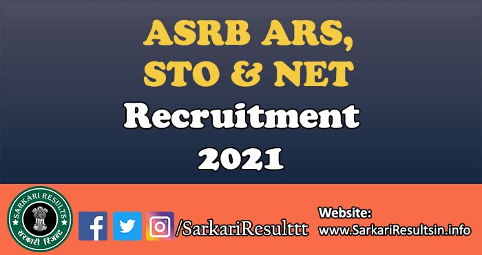 ASRB ARS, STO and NET Exam Online Form 2021