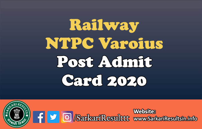 Railway NTPC Varoius Post Recruitment 2019