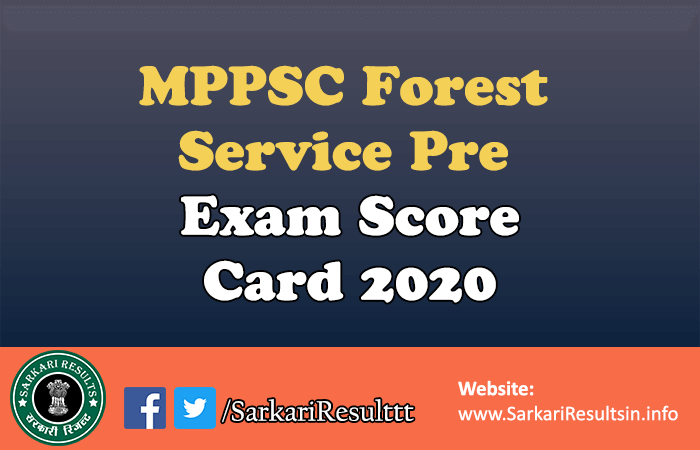 MPPSC Forest Service Pre Exam Score Card