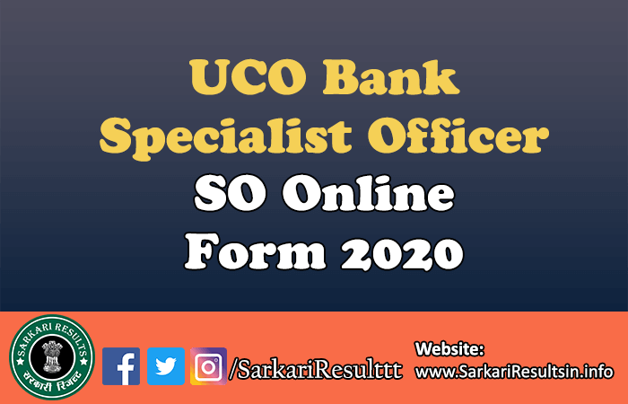 UCO Bank Specialist Officer SO Form