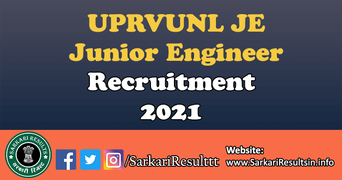 UPRVUNL JE Junior Engineer Recruitment Online Form 2021