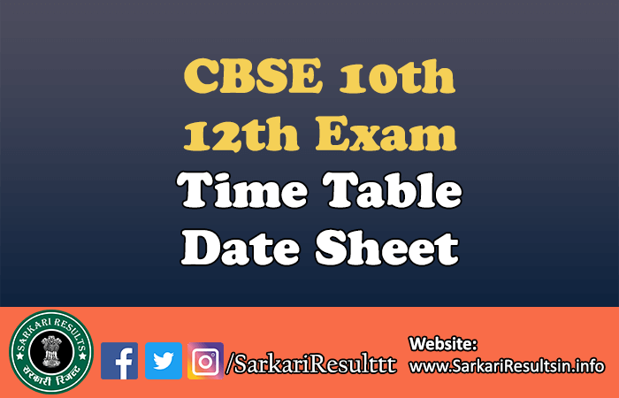 CBSE 10th, 12th Exam Time Table Date Sheet